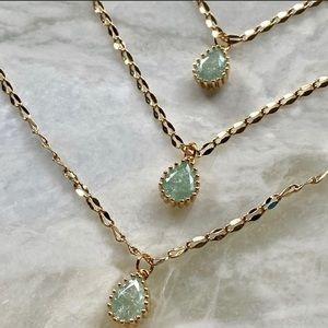 Green Zircon Gemstone 22K Gold Necklace